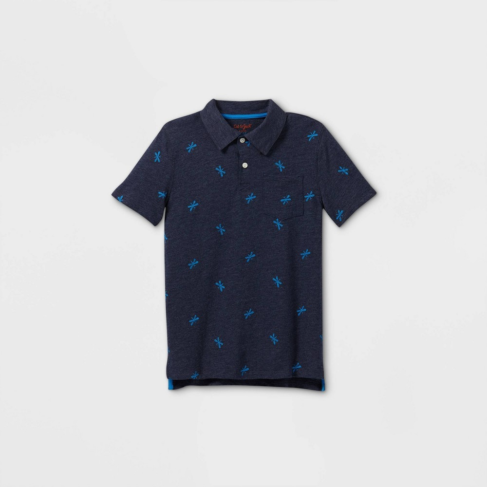 Boys 39 Short Sleeve Knit Polo Shirt Cat 38 Jack 8482 Navy L