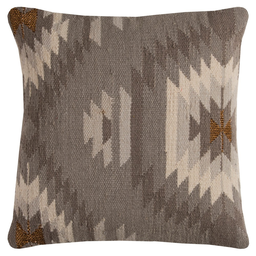 Rizzy Home Southwestern Throw Pillow Gray