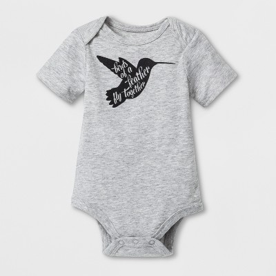 Baby 'Birds of A Feather' Graphic Bodysuit - Cat & Jack™ Heather Gray 6-9M