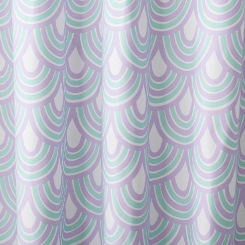 Scalloped Shower Curtain Crystalized Green Shy Lavender