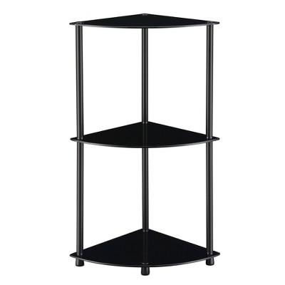 """31.5"""" Designs2Go Classic Glass 3 Tier Corner Shelf Black Glass - Breighton Home"""