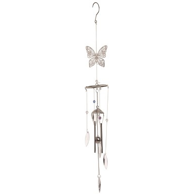 Transpac Metal 30 in. Multicolor Spring Crystal Butterfly Chime