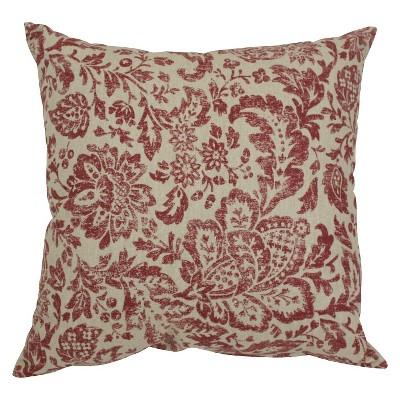 Red/Tan Floral Damask Throw Pillow (18 x18 )- Pillow Perfect