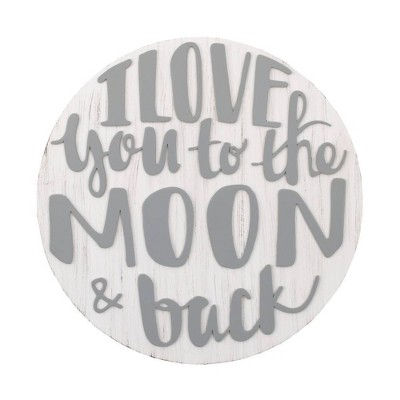 Little Love By NoJo Love You To The Moon and Back Round Wood Nursery Wall Décor - Gray and White