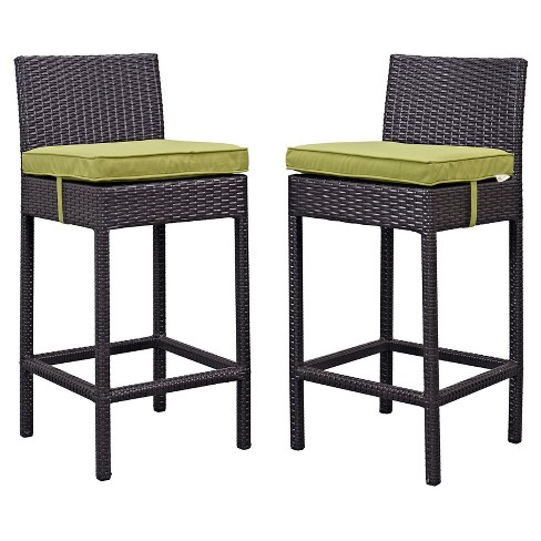 Lift Bar Stool Outdoor Patio Set Of 2 In Espresso Peridot Modway