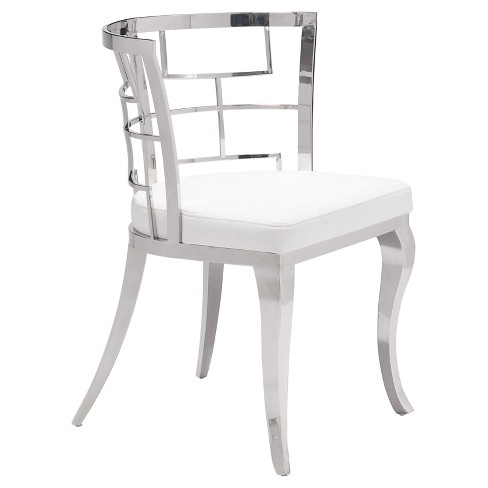 Louis-esque Stainless Steel and Upholstered Seat Dining Chair (Set of 2) - ZM Home - image 1 of 5