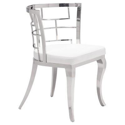 Louis Esque Stainless Steel And Upholstered Seat Dining Chair (Set Of 2)    ZM Home