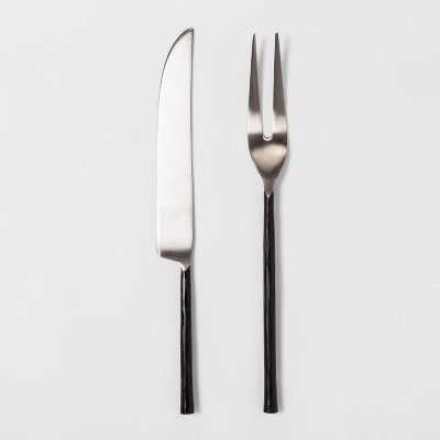 2pc Stainless Steel Carving Set Black - Threshold™