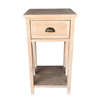 1 Drawer Landon Side Table Pine - Decor Therapy
