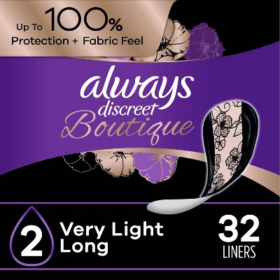 Always Discreet Boutique Incontinence and Postpartum Incontinence Liners - Very Light Absorbency - Long Length - 32ct
