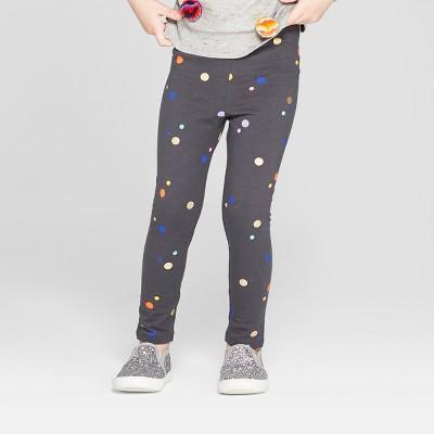 7a8683eea18f2 Toddler Girls' Leggings - Cat & Jack™ Charcoal Polka Dots