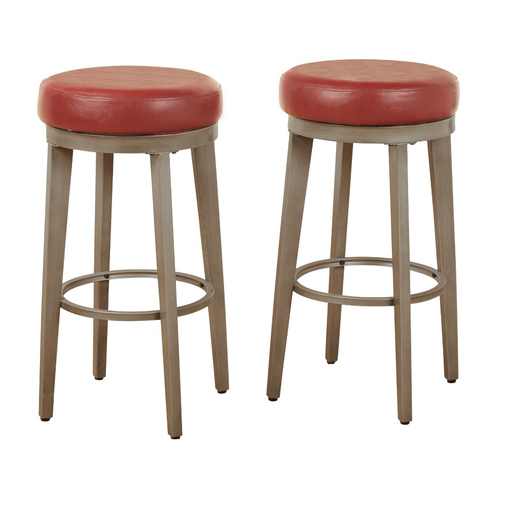 """Image of """"30"""""""" Linden Swivel Stool Set of 2 Red - Angelo:Home"""""""