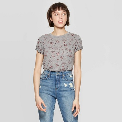Women's Harry Potter Short Sleeve Round Neck T-Shirt (Juniors')- Heather Gray S