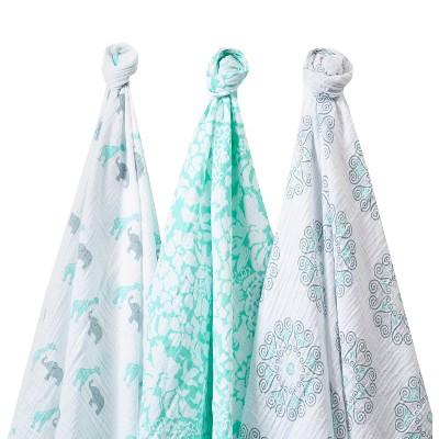 SwaddleDesigns SwaddleLite 3pk Blanket - Lush Lite - SeaCrystal