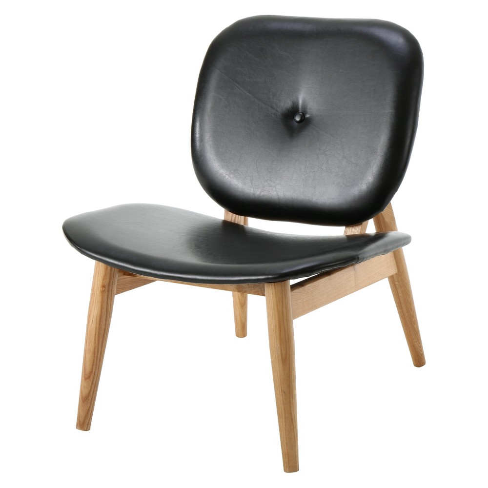 Atticus Bonded Leather Accent Chair Black - Christopher Knight Home