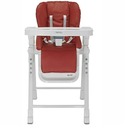 Inglesina Gusto Adjustable Baby Toddler Foldable High Chair with Removable Serving Tray Insert, 5 Point Safety Harness, and Reclining Seat, Red