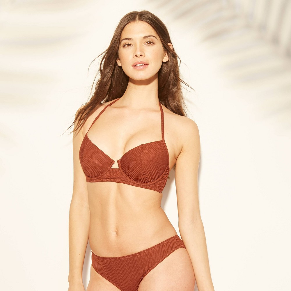 fe60e8cc6c0 Womens Cabana Light Lift Shiny Ribbed Bikini Top Shade Shore Cinnamon Spice  36B Brown