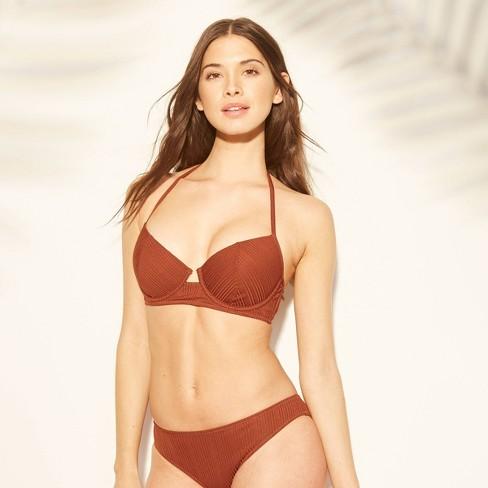 Women's Cabana Light Lift Shiny Ribbed Texture Bikini Top - Shade & Shore™ Cinnamon Spice - image 1 of 3
