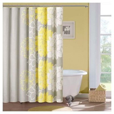 Jane Cotton Shower Curtain - Gray/Yellow