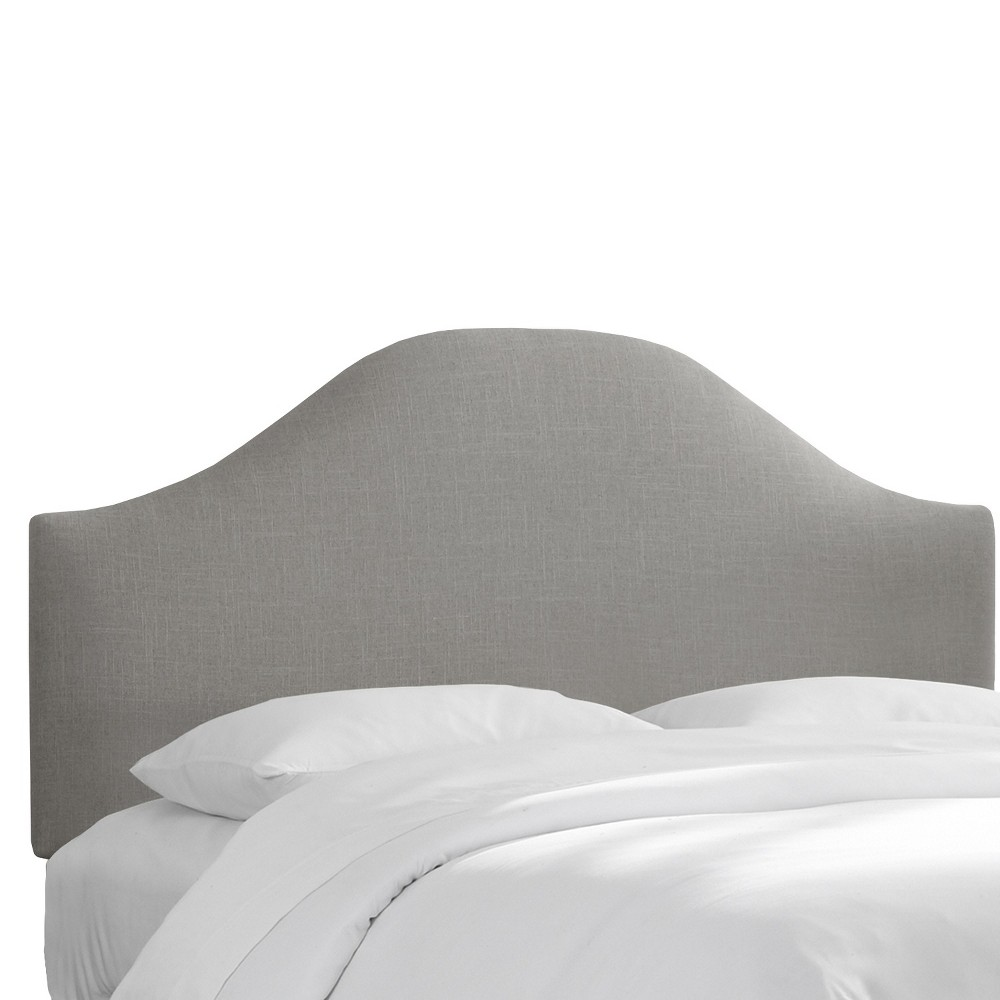 Custom Upholstered Curved Headboard - Linen Gray - Queen - Skyline Furniture