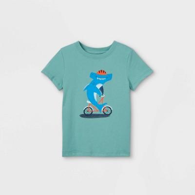 Toddler Boys' Shark Biking Graphic Short Sleeve T-Shirt - Cat & Jack™ Sea Green