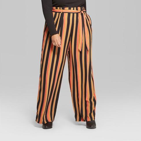 a83b08ae0ab75 Women s Plus Size High-Waist Paper Bag Pants - Wild Fable™ Black Rust    Target