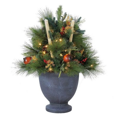 Home Heritage 32 Inch Christmas LED Pre-Lit Potted Shrub for Indoor or Outdoor