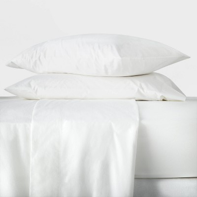 Queen Washed Supima Percale Solid Sheet Set White - Casaluna™