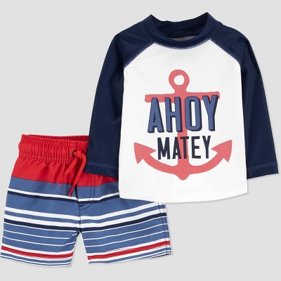 Baby Boys' 'Ahoy Mate' Long Sleeve Rash Guard Set - Just One You® made by carter's Navy 3M
