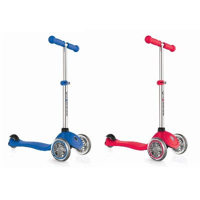 Globber Primo 3-Wheel Kids Kick Scooter with Adjustable Height and Comfortable Grips for Boys and Girls, Navy Blue and Red (2 Pack