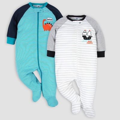 Gerber Baby Boys' 2pk Dino and Ship Sleep N' Play - Blue/White Newborn