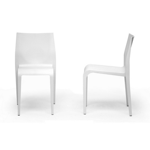 Set Of 2 Blanche Molded Plastic Modern Dining Chairs White Baxton Studio Target