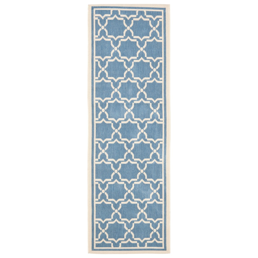 Isla 2'4 X 14' Runner Outer Patio Rug - Blue / Beige - Safavieh