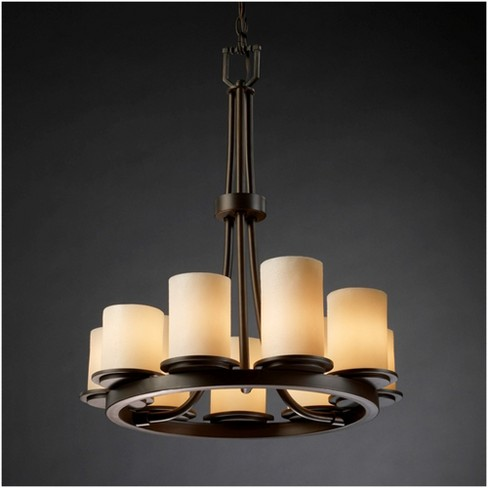 Justice Design Cndl 8766 10 Crem Candlearia 9 Light 23 Wide Pillar Candle Chandelier With Faux Resin Shades