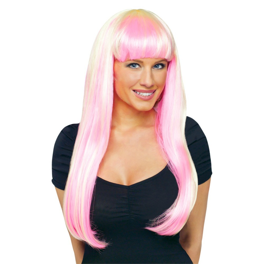 Natural Costume Wig Neon Pink - One Size Fits Most, Women's, Multi-Colored