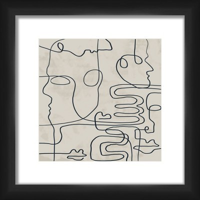 """13"""" x 13"""" Matted to 2"""" Abstract Lines Picture Framed Black - PTM Images"""