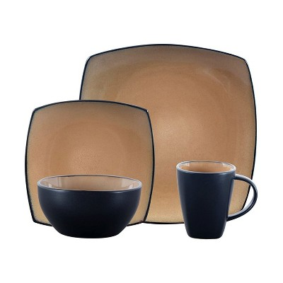 Gibson 61222.16RM Soho Lounge 16 Piece Reactive Glaze Durable Dinnerware Plates, Bowls, and Mugs, Microwave and Dishwasher Ready, Beige