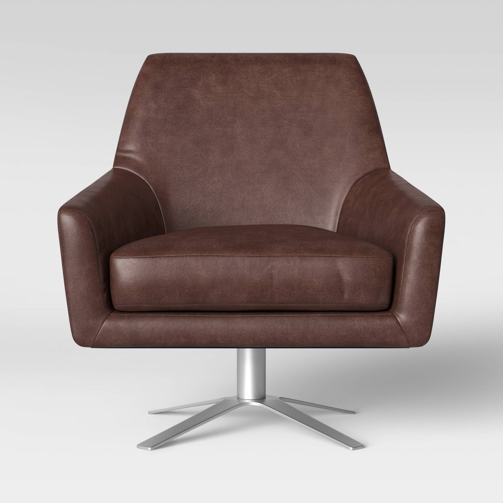 Tierman Swivel Chair with Metal Base Brown - Project 62