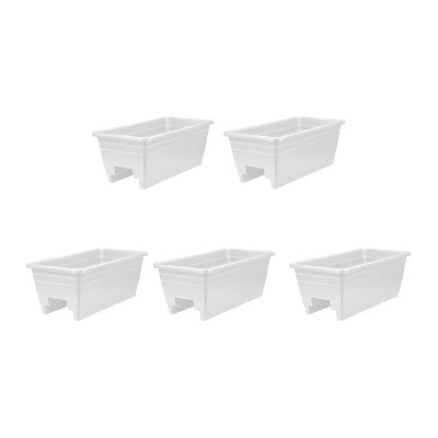 HC Companies SPX24DBOA10 Heavy Duty 24-Inch Width Akro Deck Rail Box Planter, White with plugs (5 Pack)