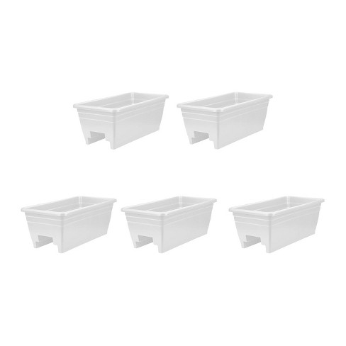 HC Companies SPX24DBOA10 Heavy Duty 24-Inch Width Akro Deck Rail Box Planter, White with plugs (5 Pack) - image 1 of 3