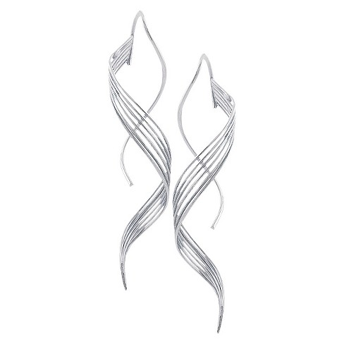 Journee Collection Sterling Silver Six-strand Handcrafted Spiral Earrings - image 1 of 3