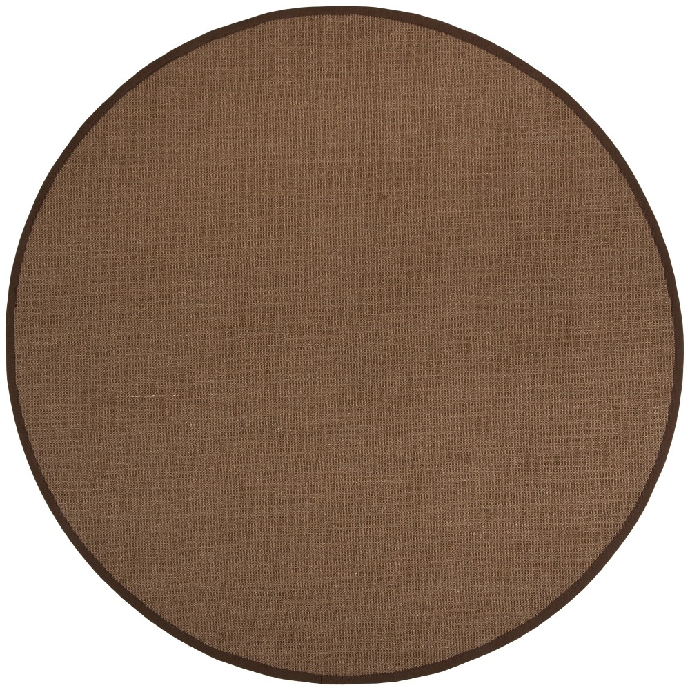6' Solid Loomed Round Area Rug Brown - Safavieh