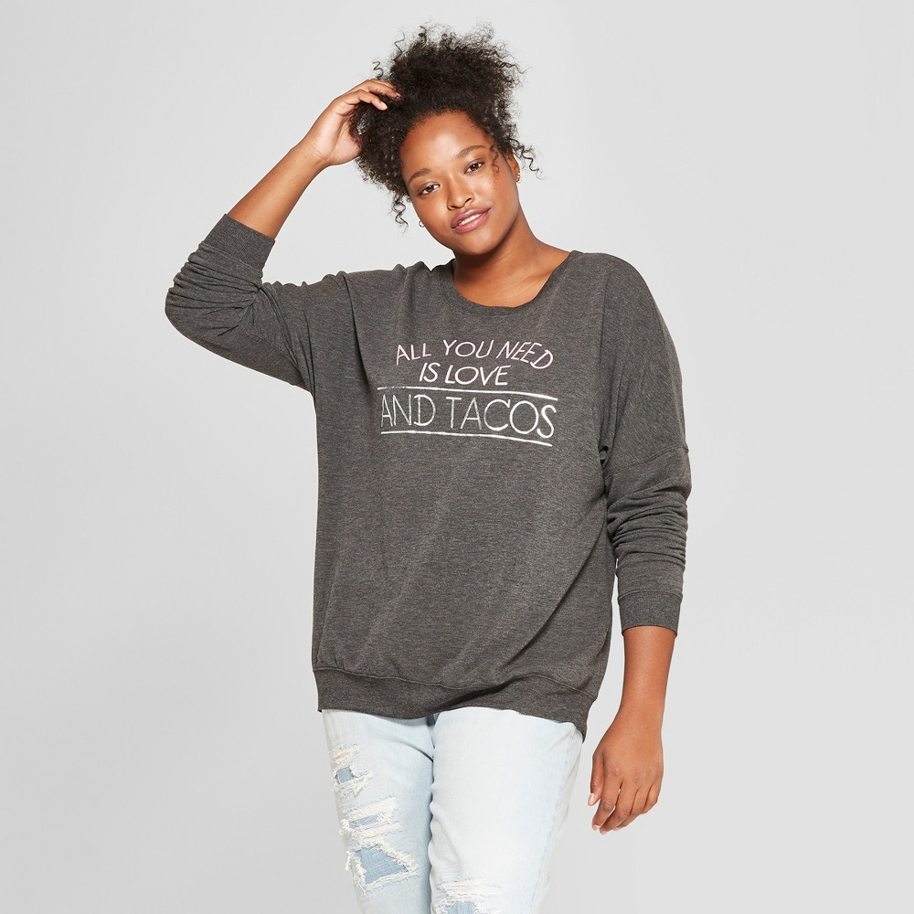 Women's Plus Size Love and Tacos Graphic Pullover Sweatshirt - Zoe+Liv (Juniors') Charcoal 2X, Gray