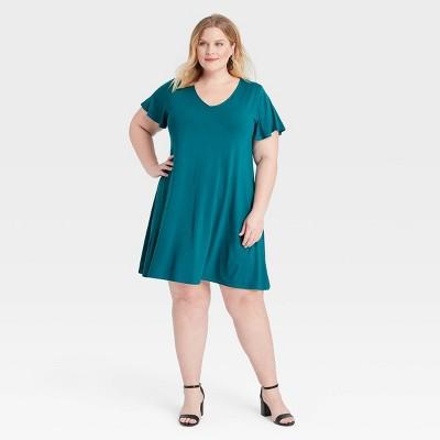Women's Plus Size Flutter Sleeve Knit Dress - Ava & Viv™