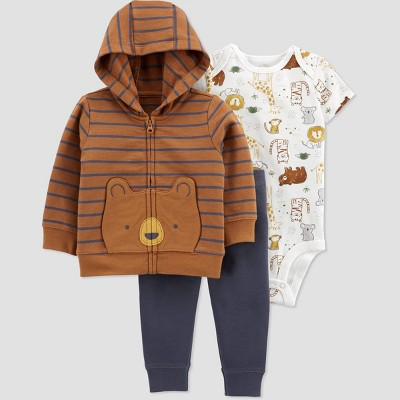 Baby Boys' Bear Short Sleeve Top & Bottom Set - Just One You® made by carter's Brown Newborn