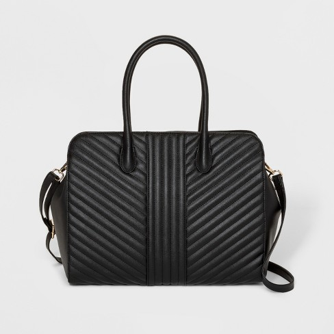 Quilted Tote Handbag A New Day Black