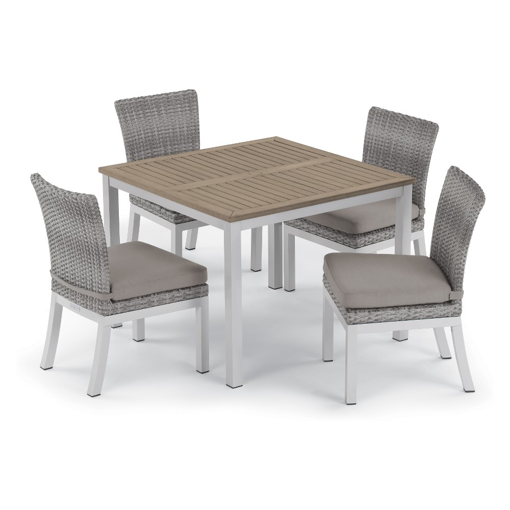 5pc Travira 39 Tekwood Vintage Dining Table & Argento Side Chair Set Gray Cushions - Oxford Garden