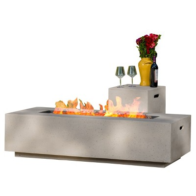 "Ixtapa 56"" MGO Gas Fire Table with Tank Holder- Rectangular - Light Gray - Christopher Knight Home"