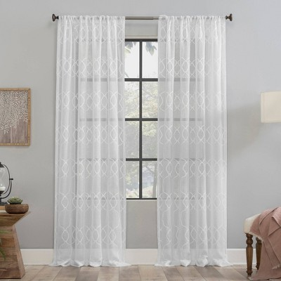 Embroidered Trellis Anti-Dust Sheer Curtain Panel - Clean Window