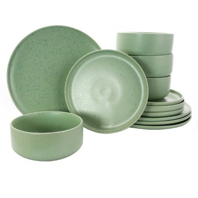 Gibson Home 12pc Stoneware Stone Lava Dinnerware Set Green